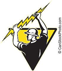 elettricista, presa a terra, potere, illuminazione, guardalinee, bullone