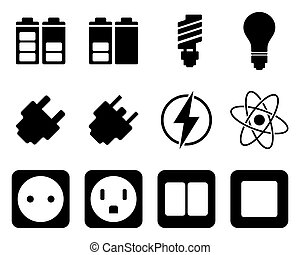 elettricità, energia, set, icona