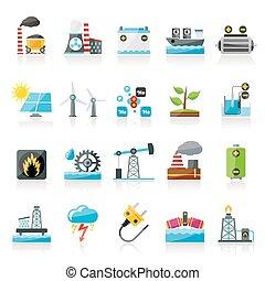elettricità, fonte, energia, icone