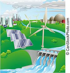 elettricità, generazione, potere, illustrazione