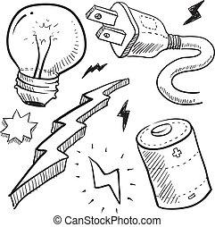 elettricità, schizzo, oggetti