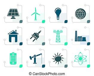 elettricità, stilizzato, energia, potere, icone