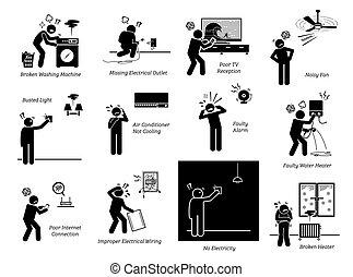 elettrico, casa, pictogram, icons., casa, problemi, apparecchi, figura bastone