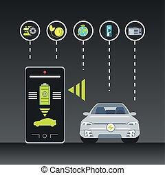 elettrico, servizio, app, automobile, controllo, smartphone