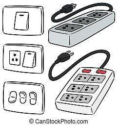 elettrico, set, interruttore, spina, vettore