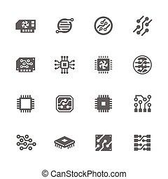 elettronica, icone semplici