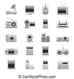 elettronico, argento, icone