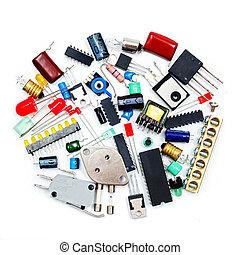 elettronico, componenti, mazzo
