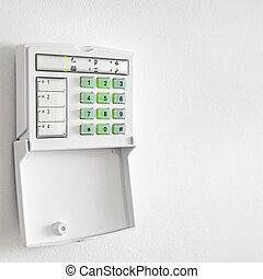 elettronico, tastiera, controllo, allarme, ufficio, parete, pannello, bianco, sistema sicurezza, appartamento