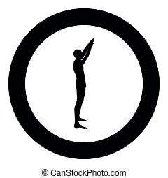 elevato, colorare, braccia, sportivo, lato, nero, illustrazione, uomo, mani, cerchio, vista, rotondo, innalzamento, icona