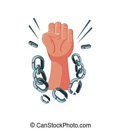 elevato, dettagliato, catena, mano, internazionale, rotto, diritti umani