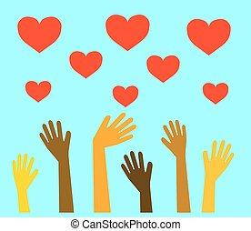 elevato, heart., mani in alto, persone, differente, simbolo., rosso