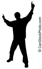 elevato, indicare, applauso, dita, su, festeggiare, vittoria, mani, uomo, o, felice