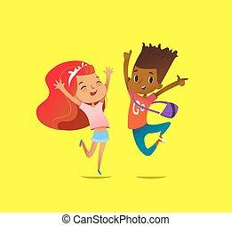 elevato, manifesto, postcard., ammirato, giallo, salto, ragazza, bambini, differente, rallegrare, bandiera, concept., fondo., eccitato, sito web, illustrazione, risata, mani, ragazzo, piste, contro, vettore