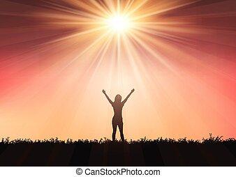 elevato, silhouette, 0409, cielo, braccia, contro, tramonto, femmina