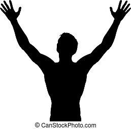 elevato, silhouette, braccia, uomo