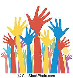 elezione, generale, votazione, hands.