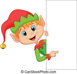 elfo, carino, indicare, natale, cartone animato