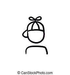 elica, ragazzo, schizzo, berretto, icon.