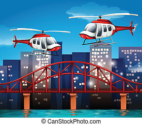 elicotteri, ponte