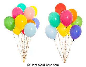 elio, isolato, bianco, mazzo, colorito, pieno, palloni