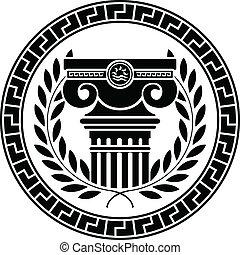 ellenico, colonna, ghirlanda, alloro