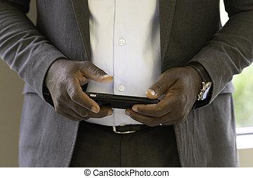 email, americano, uomo, telefono, invio, suo, far male, africano, affari, messaggio
