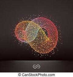 emblem., astratto, elemento, 3d, infinità, simbolo., disegno, illustration.
