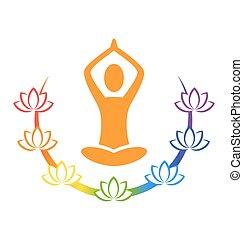 emblema, atteggiarsi, isolato, lotuses, chakra, yoga, bianco