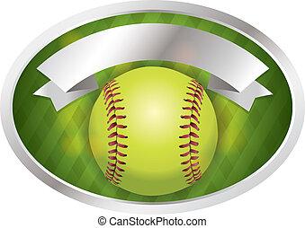 emblema, bandiera, illustrazione, softball
