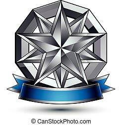 emblema, classico, isolato, fondo., aristocratico, vettore, bianco