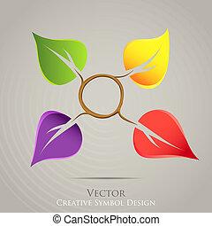 emblema, colorito, natura, creativo, vettore, disegno, icon.