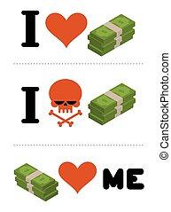 emblema, come, cranio, dollari, me., soldi., financiers., soldi., finanziario, anti, logotipo, non, amore, odio, simbolo