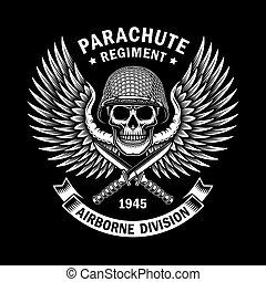 emblema, grafico, cranio, vettore, nero, militare