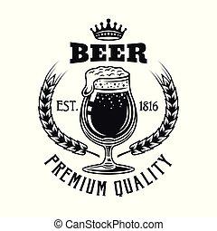 emblema, isolato, vetro, birra, vettore, bianco