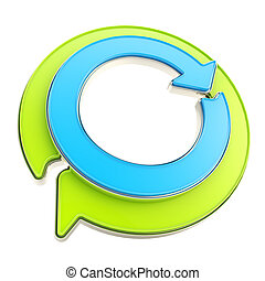 emblema, lucido, freccia, riciclare, cerchio, rotondo, icona
