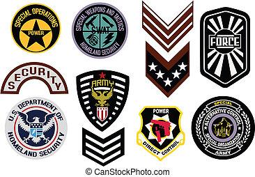 emblema, militare, distintivo, scudo, logotipo