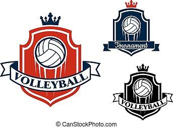 emblema, pallavolo, sport, gioco, bandiera, o