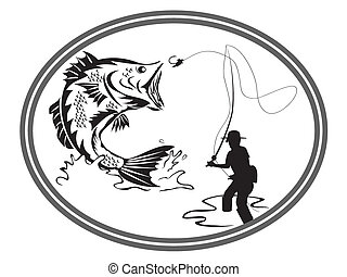 emblema, pesca, basso