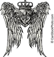 emblema reale, ala, tatuaggio