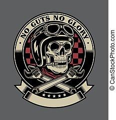 emblema, scimmia, cranio, vendemmia, wrenches, motociclista, attraversato