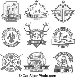 emblemi, set, nero, caccia