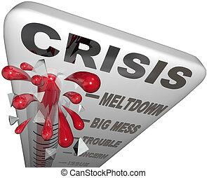 emergenza, disordine, guaio, parole, termometro, fusione, crisi
