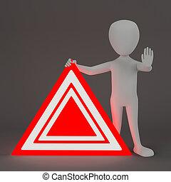 emergenza, persone, segno., -, piccolo, 3d