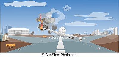 emergenza, situazione, abbattersi, aereo, aria, critico, atterraggio, catastrofe