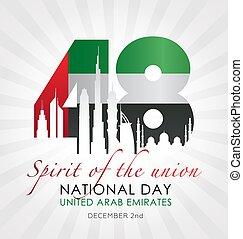 emirati, nazionale, unito, giorno, arabo