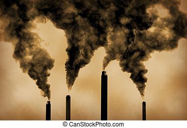 emissioni, globale, fabbrica, warming, inquinamento