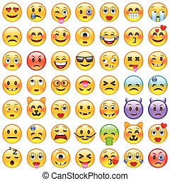 emoji., sorriso, icone, set, emoticons.