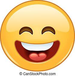 emoticon, aperto, bocca occhi, sorridente