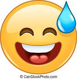 emoticon, bocca, sudore, sorridente, aperto, freddo